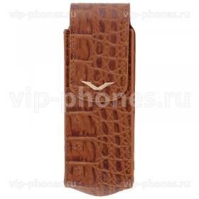 Кожаный чехол для Vertu Signature S Design Brown Alligator